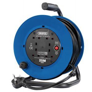 Draper - 230V Heavy Duty Industrial Four Socket Cable Reel (25m)