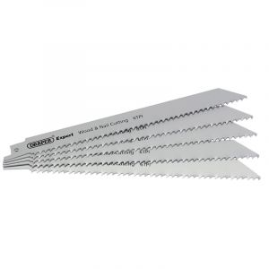 Draper - Expert 250mm 6tpi Bi-Metal Reciprocating Saw Blades for Wood and Nail Cutting - Pack of 5 Blades