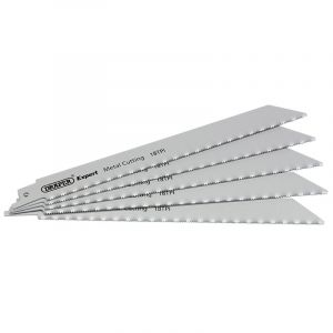 Draper - Expert 200mm 18tpi HSS Reciprocating Saw Blades for Metal Cutting - Pack of 5 Blades