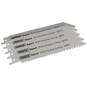 Draper - Expert 150mm 5/8tpi HSS Reciprocating Saw Blades for Multi Purpose Cutting - Pack of 5 Blades