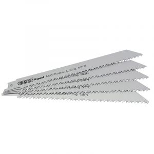 Draper - Expert 250mm 5/8tpi HSS Reciprocating Saw Blades for Multi Purpose Cutting - Pack of 5 Blades
