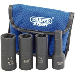 "Draper - 1/2"" Sq. Dr. Wheel Nut Double Impact Socket Kit (4 Piece)"
