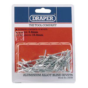 Draper - 50 x 4mm x 10mm Blind Rivets