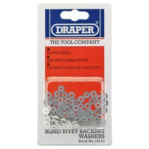 Draper - 100 x 2.4mm Rivet Backing Washers