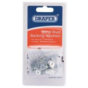 Draper - 100 x 4mm Rivet Backing Washers