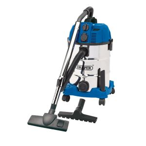 Draper - 30L Wet and Dry Vacuum Cleaner with Stainless Steel Tank and Integrated 230V Power Out-Take Socket (1300W)