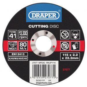 Draper - Multi Purpose Cutting Disc (115 x 1.6 x 22.2mm)