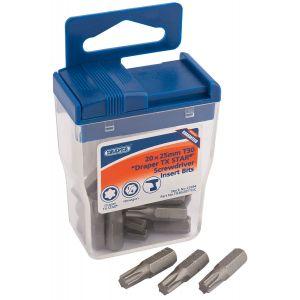 Draper - 20 x Draper TX-STAR® 25mm Long Insert Bits in Plastic Storage Case
