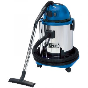 Draper - 50L Wet and Dry Vacuum Cleaner with Stainless Steel Tank and 230V Power Tool Socket (1400W)