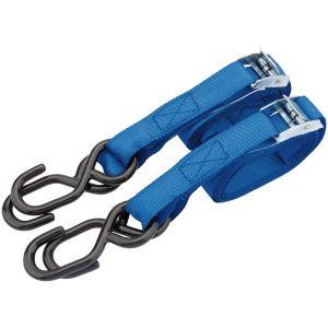 Draper - 125kg Ratcheting Tie Down Strap Sets (2.5M x 25mm) (2 Piece)