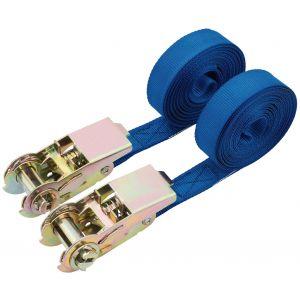 Draper - 250kg Ratcheting Tie Down Strap Sets (4.5M x 25mm) (2 Piece)