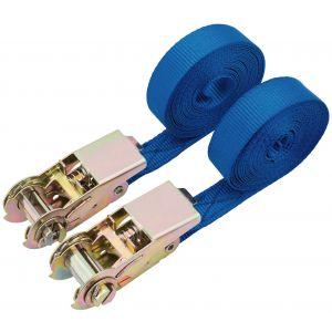 Draper - 400kg Ratcheting Tie Down Strap Sets (4.5M x 25mm) (2 Piece)