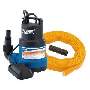 Draper - 125L/Min Submersible Clear Water Pump Kit C/W Layflat Hose, supplied with Adaptor (5m x 25mm) - Kit 2