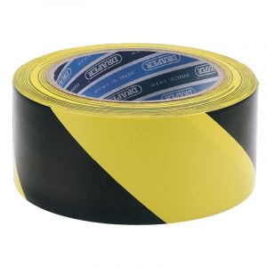Draper - 33M x 50mm Black and Yellow Adhesive Hazard Tape Roll
