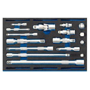 Draper - Extension Bar, Universal Joints and Socket Convertor Set 1/4 Drawer EVA Insert Tray (16 Piece)