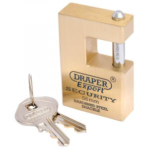Draper - 56mm Quality Close Shackle Solid Brass Padlock and 2 Keys with Hardened Steel Shackle