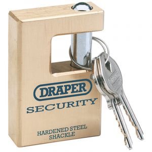 Draper - 63mm Quality Close Shackle Solid Brass Padlock and 2 Keys with Hardened Steel Shackle