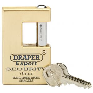 Draper - 76mm Quality Close Shackle Solid Brass Padlock and 2 Keys with Hardened Steel Shackle