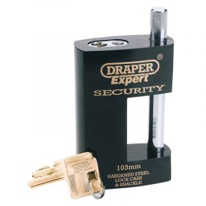 Draper - 103mm Heavy Duty Close Shackle Padlock and 2 Keys