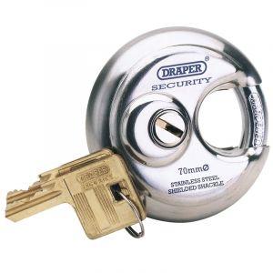 Draper - 70mm Diameter Stainless Steel Padlock and 2 Keys
