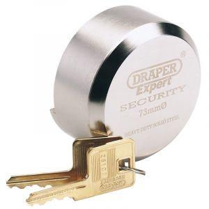 Draper - 73mm Diameter Solid Steel Padlock with Concealed Hardened Steel Shackle and 2 Keys