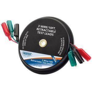 Draper - 10ft 3 Wire Retractable Test Leads