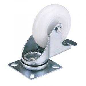 Draper - 75mm Dia. Swivel Plate Fixing Nylon Wheel with Brake - S.W.L. 70Kg