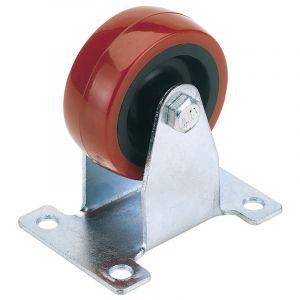Draper - 100mm Dia. Fixed Plate Fixing Polyurethane Wheel - S.W.L. 125Kg