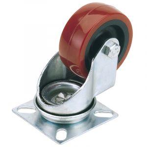Draper - 100mm Dia. Swivel Plate Fixing Polyurethane Wheel - S.W.L. 125Kg