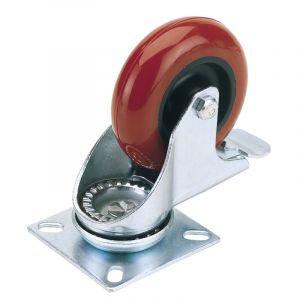 Draper - 100mm Dia. Swivel Plate Fixing Polyurethane Wheel with Brake - S.W.L. 125Kg