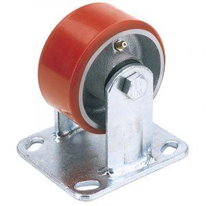 Draper - 200mm Dia. Fixed Plate Fixing Heavy Duty Polyurethane Wheel - S.W.L. 500Kg