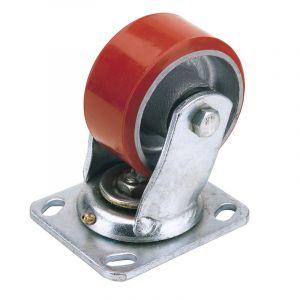 Draper - 100mm Dia. Swivel Plate Fixing Heavy Duty Polyurethane Wheel - S.W.L. 250Kg