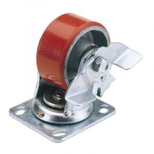 Draper - 100mm Dia. Swivel Plate Fixing Heavy Duty Polyurethane Wheel with Brake - S.W.L. 250Kg