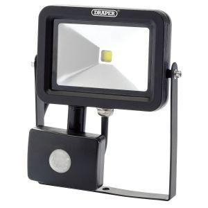 Draper - 10W COB LED Slimline Wall Mounted Floodlight with PIR Sensor - 700 Lumens