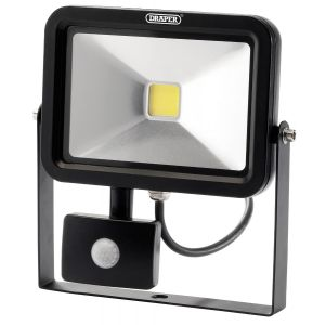 Draper - 20W COB LED Slimline Wall Mounted Floodlight with PIR Sensor - 1,300 Lumens