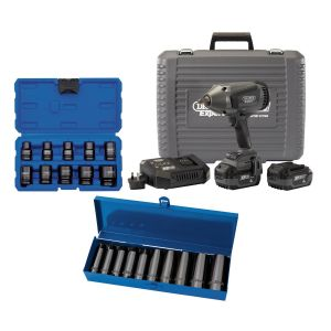 """Draper - XP20 Brushless 1/2"""" Impact Wrench 1000Nm (Battery/Charger) + 2x 4Ah Batteries and Fast Charger + 2x Socket Sets (2x 10 Piece)"""