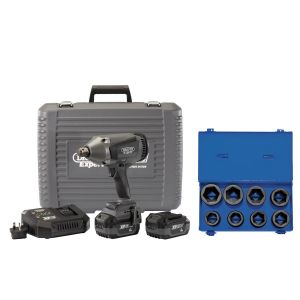 """Draper - XP20 Brushless 3/4"""" Impact Wrench 1060Nm + 2x 4Ah Batteries and Fast Charger + Socket Set (8 Piece)"""