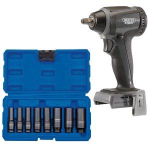 "Draper - XP20 Brushless 3/8"" Impact Wrench 250Nm (Bare) + Socket Set (8 Piece)"
