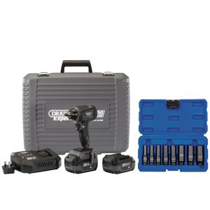 """Draper - XP20 Brushless 3/8"""" Impact Wrench 250Nm + 2x 4Ah Batteries and Fast Charger + Socket Set (8 Piece)"""
