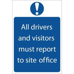 Draper - Report To Site Office' Mandatory Sign