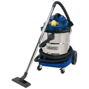 Draper - 50L 110V Wet and Dry Vacuum Cleaner with Stainless Steel Tank and 110V Power Tool Socket (1500W)