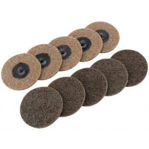 Draper - Ten 75mm Polycarbide Abrasive Pads (Course)