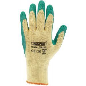 Draper - Green Heavy Duty Latex Coated Work Gloves - Extra Large