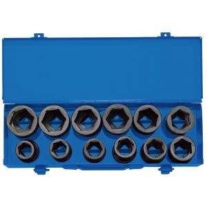 "Draper - 3/4"" Sq. Dr. Combined MM/AF Impact Socket Set in Metal Case (12 Piece)"