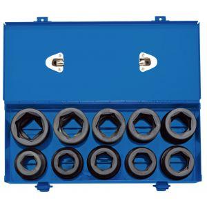 "Draper - 1"" Sq. Dr. Combined MM/AF Impact Socket Set in Metal Case (10 Piece)"