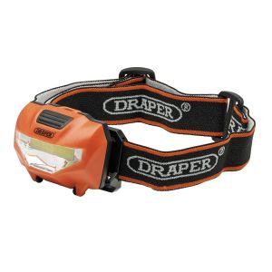 Draper - 3W COB LED Head Torch (3x AAA Batteries Supplied)