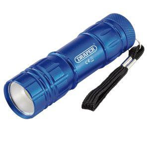 Draper - COB LED Aluminium Hand Torch ( 3 x AAA Batteries Supplied)