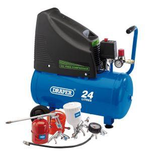 Draper - 230V Oil Free Compressor and Air Tool Kit