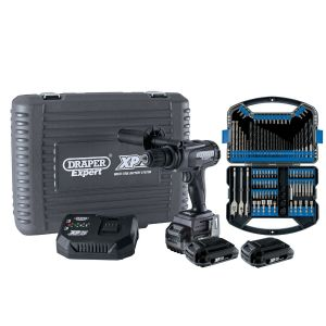 Draper - XP20 Brushless Combi Drill 135Nm + 3x 2Ah Batteries and Fast Charger + Drill Bit Accessory Kit (101 Piece)