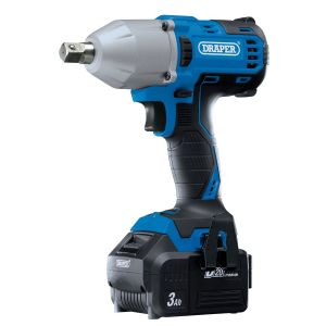 """Draper - D20 20V Brushless 1/2"""" Mid-Torque Impact Wrench (400Nm) with 2x 3Ah Batteries And Charger"""